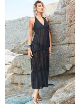 Пляжное черное платье Amarea 9099