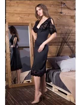 Длинная приталенная сорочка Elegance Velvet 12048