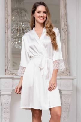 Короткий шовковий халат Mia-Amore White Swan 3553