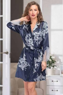 Короткий халат-рубашка шелковый Mia-Amore Alexandria 3577
