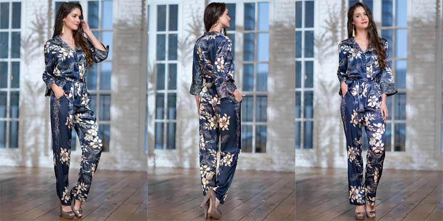 Женская шелковая пижама с брюками купить