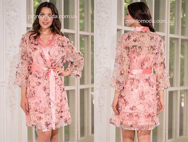 Невесомый полупрозрачный халат с запахомMia-AmoraLily 8093