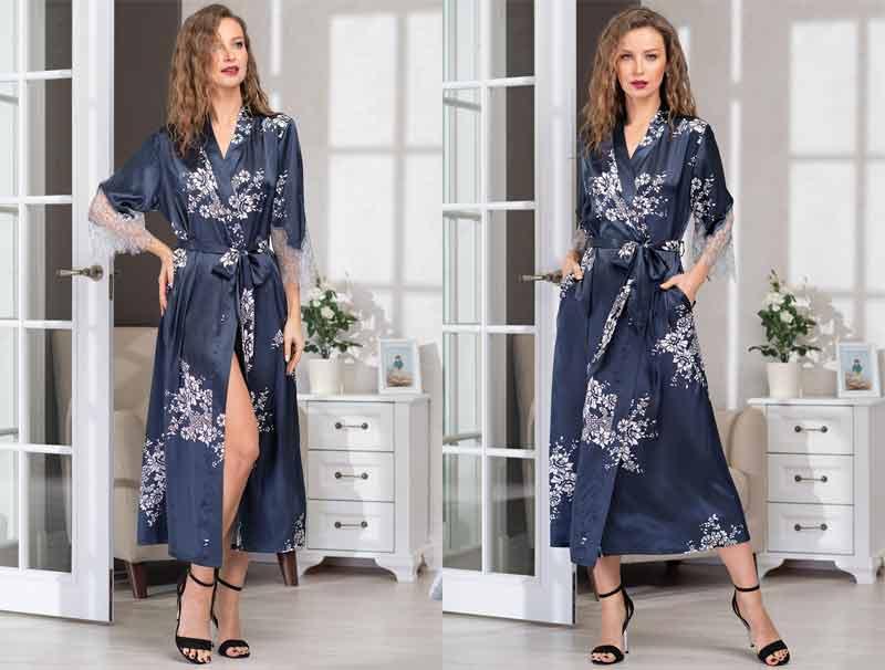 Длинный шелковый халат Mia-Amore Alexandria