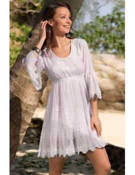 Короткое платье-туника с вышивкой Santa-Monica 6881