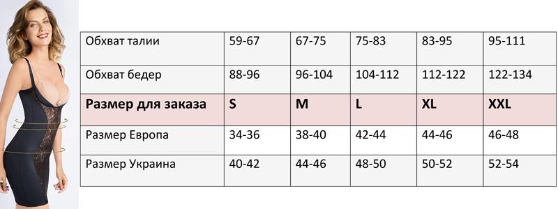 Florange таблица размеров корректирующего белья